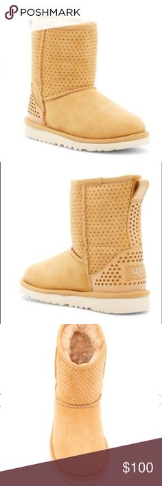 UGG Classic Short Honeycomb Boots Brand new! Size 3 youth fits women's size 5. Retail $160. Comfy and cozy has never been more cool than with this sheepskin boot! - Round toe - Pull-on - Genuine sheepskin construction with exposed seams - Genuine sheepskin fur and UGGpure(TM) wool lining - Imported Materials Genuine sheepskin (origin: Australia) upper, genuine sheepskin fur (origin: Australia) and UGGpure(TM) wool lining, EVA sole UGG Shoes Ankle Boots & Booties