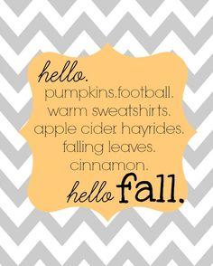 Free Fall Printable - Grey Chevron Hello Fall - by all things DIY.