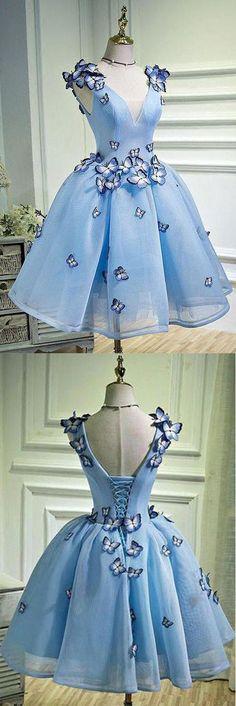 Sky Blue Butterfly Applique A Line V Neck Short Homecoming Dress OKB67 #skyblue #butterfly #vneck #aline #short #homecoming #okdresses