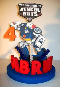 RESCUE BOTS 3D Custom PERSONALIZED Cake Topper Centerpiece on Etsy, $39.00