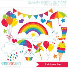 Imágenes Prediseñadas  arco iris divertida por MyClipArtStore