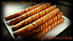 Tiger Tail Pretzel Rods Tiger Tails, Pretzel Rods, Birthday Desserts, Dessert Bars, Tailgating, 3rd Birthday, First Birthdays, Kid, Candy