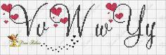 Darling Make Alphabet Friendship Bracelets Ideas. Wonderful Make Alphabet Friendship Bracelets Ideas. Cross Stitch Alphabet Patterns, Embroidery Alphabet, Cross Stitch Letters, Cross Stitch Borders, Simple Cross Stitch, Cross Stitch Baby, Cross Stitch Samplers, Embroidery Fonts, Cross Stitch Designs