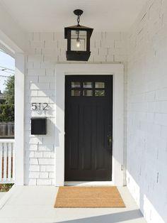 Black Front Door. White Exterior Front Door Paint Color: Sherwin Williams SW Tricorn Black SW 6258 Latex Satin. Love the lantern too!: