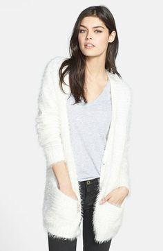 Hinge® Textured Cardigan subtle pattern variation and allover fuzzy eyelash threads provide on-trend style to this plush cardi . nylon:acrylic ivory .  http://shop.nordstrom.com/s/hinge-textured-cardigan/3531197?origin=category-personalizedsortcontextualcategoryid=0fashionColor=Blue-+Raindropresultback=5655cm_sp=personalizedsort-_-browseresults-_-1_15_B