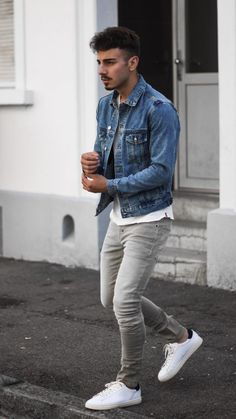 How to wear levi's vintage clothing classic denim jacket Smart Casual Outfit, Outfits Casual, Mode Outfits, Casual Chic, Fashionable Outfits, Casual Clothes, Summer Outfits, Mode Masculine, Mens Fashion Suits