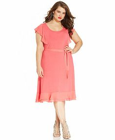 Modamix Plus Size Flutter-Sleeve Ruffle Belted Dress
