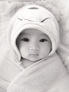My cute baby boy in his Disney pooh towel Half Korean half Mexican. Can you say heartbreaker? Baby photo ideas