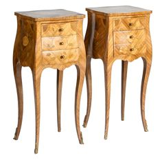 Louis XV Pair of Petite Bombé Bedside Tables With Inlay | From a unique collection of antique and modern night stands at http://www.1stdibs.com/furniture/tables/night-stands/