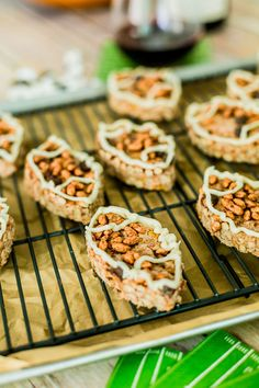 Get excited for gameday with these football shaped chocolate rice krispie treats with a marshmallow fluff drizzle.