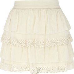 #River Island             #Skirt                    #Cream #lace #tiered #mini #skirt                   Cream lace tiered mini skirt                                                  http://www.seapai.com/product.aspx?PID=228134