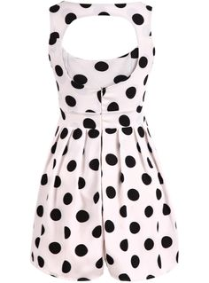 White Sleeveless Polka Dot Backless Dress - Sheinside.com