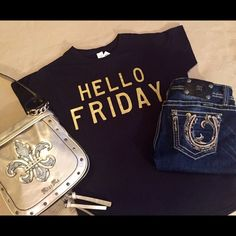 "JUST IN! Weekend Ready Hello Friday Tee Who else is ready for FRIDAY?!?!?!  Show off your excitement without saying a thing... This Black fitted Tee features your fun ""HELLO FRIDAY"" in gold on the front. Easily dressed up or down this tee is sure to be a hit with you... And a conversation piece for your friends!  100% Ringspun Cotton Measurements Shoulder to Shoulder 16"" Shoulder to Hem 27"" Underarm to Underarm 20"" Denim, Boots, & Bling Tops Tees - Short Sleeve"