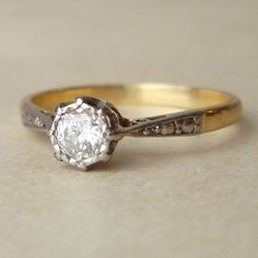 Antique Diamond Engagement Ring, 18k Gold Art Deco Diamond Solitaire Wedding Ring Approx. Size US 4. $348.00, via Etsy.