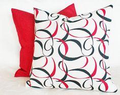 Contemporary Throw Pillow Cream Red Black by PillowThrowDecor, $32.00