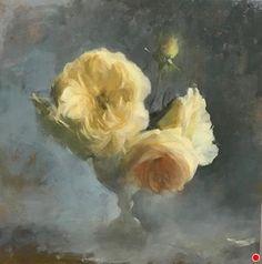 Kathleen Speranza - Workshop - Rose Painting Workshop at Bay Area Classical Artist Atelier Flower Canvas Art, Canvas Wall Art, Painting Canvas, Oil Painting For Beginners, Black Wall Art, Flower Artists, Cup Art, Oil Painting Flowers, Floral Paintings
