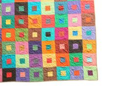 Custom Quilt - Modern Patchwork Lap Quilt, Kids Quilt, Throw Blanket - Multicolor Simple Squares Design