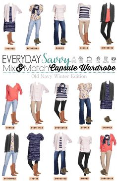 Here is a fun and affordable Old Navy Winter to Spring Capsule Wardrobe. These mix and match outfits will work great all winter and transition easily to spring. I love the cardigans, floral shirt and fun coral dolman top. women fashion style