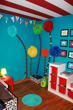Dr. Seuss style; I am loving the trees for a whoville Christmas party