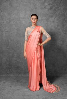 Manish Malhotra Latest Indian Designer Sarees Collection consists of new designs, styles of embroidered fancy, formal & wedding wear saree series Indian Designer Sarees, Latest Designer Sarees, Indian Sarees, Peach Color Saree, Peach Saree, Designer Sarees Collection, Saree Collection, Satin Saree, Brocade Saree
