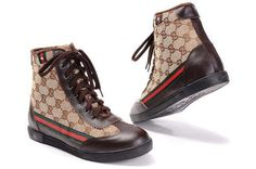 Nothing embodies laid-back luxury quite like Gucci. Gucci sneaker boots are not only something for your feet but also with its classci air and chic design.The smooth canvas upper, traditional lace-up, and recognizable logo keeps classic styling in the forefront. Padded linings and a durable rubbe... Gucci High Top Sneakers, Gucci High Tops, White High Top Sneakers, High Top Boots, High Shoes, Top Shoes, Crocs Shoes, Sneaker Boots, Womens High Heels