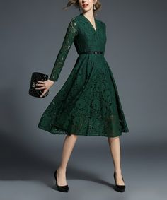Look at this #zulilyfind! Green Floral-Lace Belted A-Line Dress - Women #zulilyfinds