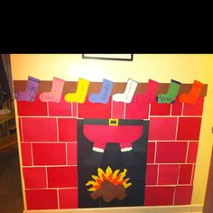 Construction paper fireplace