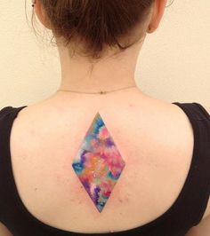 Geometric Watercolor Tattoo on Back
