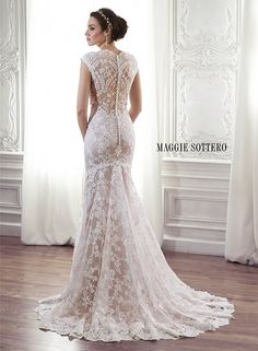 Lace sheath wedding dress with scalloped  lace neckline and illusion lace back, Londyn by Maggie Sottero.