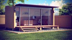 Diseño de una oficina para jardín a partir de un contenedor marítimo modificado. Módulo alterado, con fachada abierta, voladizo de cubierta, y revestido con madera.