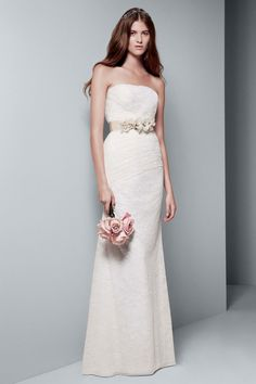 Vera Wang wedding dresses designed a stunning collection for David's Bridal at an affordable price. Try on a gorgeous Vera Wang White designer wedding gown today! Affordable Wedding Dresses, Wedding Dresses Photos, Wedding Dress Sizes, Gorgeous Wedding Dress, Bridal Wedding Dresses, Wedding Attire, Bride Dresses, Reception Dresses, Tulle Wedding