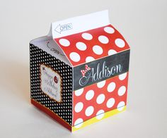 Milk Carton Favor Box Inspired by Minnie Mouse - Classic Red, Black and White with Polka Dots and Minnie's Bow - Personalized and Printable