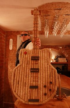 Let's Rock the Wine World! Guitar made from recycled wine corks.