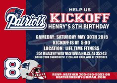$4.95 New England Patriots Birthday Invitation - Football Birthday printable Invite-Can be made for any NFL or college team
