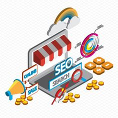Illustration of online marketing concept in isometric graphic Free Vector