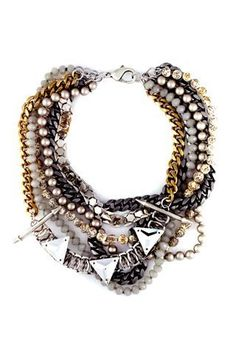 Swarovski Crystal Necklace with chain and mixed media. Swarovski Crystal Fall / Winter Jewelry, Color & Fashion Trends!
