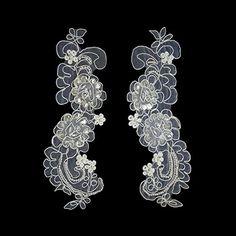 "7.5""x2.75"" Ivory Bridal Beaded Sequins Embroidery Motif Applique by Pair Altotux http://www.amazon.com/dp/B00N125R0C/ref=cm_sw_r_pi_dp_NzbMwb1DNNTH8"