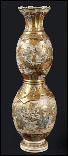 Satsuma Double Gourd Vase : Lot 132-3036 #satsuma #vase #asian