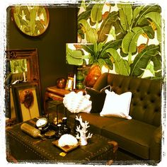 Tropical decor from PAD, in Waterloo....love the big green banana leaf wallpaper