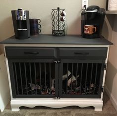 Turned a $20 dresser into a gorgeous dog kennel/coffee station. #dogkennel Stylish Dog Kennel