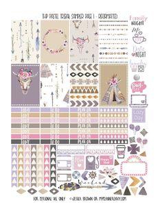 Free Printable Reformatted THP Pastel Tribal Sampler Page 1 from myplannerenvy.com