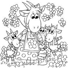 Goat and Goatlings (fairy-tale Wolf and 7 kids) - Buy this stock illustration and explore similar illustrations at Adobe Stock Wolf, Math Crafts, English Lessons For Kids, Coloring Book Pages, Stories For Kids, Conte, Toddler Crafts, Coloring Pages For Kids, Line Drawing