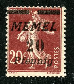"1922 Scott 54 20pf on 20c red brown Stamps of France, surcharged in black or red The ""Memel"" script changed with the 1922 issue stamps. This ""sower"" design  is found on 14 stamps with a CV of <$1-$1+, except for two CV $7 stamps, including the one illustrated. ;-)"