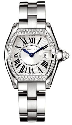 Cartier roadster with diamonds.  Visit London Jewelers Americana Manhasset for more Cartier timepieces or call 516 627 3200 to speak to a store representative.