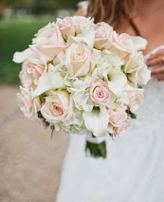 Traditional Wedding Bouquet // Roses, Calla Lilies & Hydrangeas - just take out the pink and add navy, Tiffany Blue and silver! Bouquet Pastel, Calla Lily Bouquet, Blush Bouquet, Calla Lilies, Rose And Lily Bouquet, Blush Roses, Pink Hydrangea Bouquet, Blush Pink, Lilies Flowers