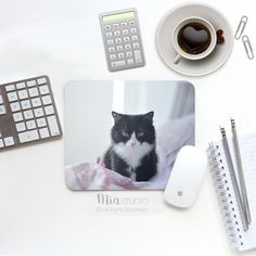 Cat Mouse Pad, Cute Cat Mousepad / Mat   Rectangle Or Round   Cat
