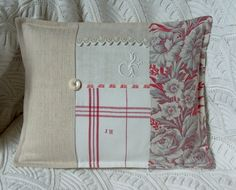 Pillow - patched with varying fabrics and linens