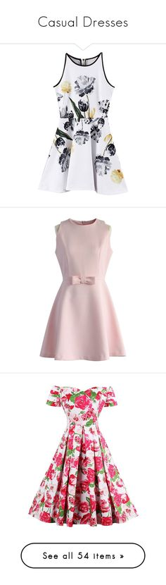 """Casual Dresses"" by deelaw22 ❤ liked on Polyvore featuring dresses, print dress, mixed pattern dress, mixed print dress, pattern dress, vestidos, short dresses, pink, bow dress and pink embellished dress"