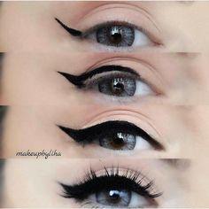 Step by step eyeliner Beautiful Eye Makeup, Unique Makeup, Perfect Makeup, Pretty Makeup, Eyeshadow Makeup, Makeup Brushes, Step By Step Eyeliner, Eyeliner Styles, Eyeliner Tutorial