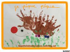 PETIT HERISSON Petites mains dodues, peinture, gommette...